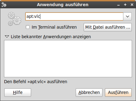 Software-Installation mit Alt+F2